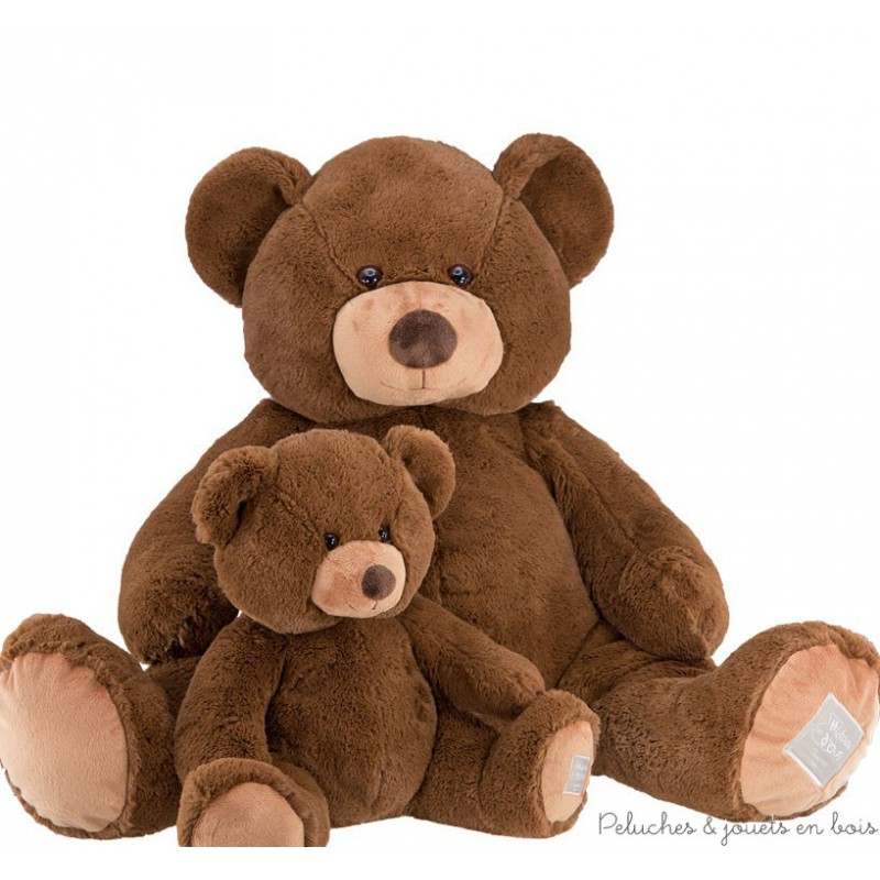Un ours géant de 100 cm, en peluche marron toute douce de la collection bel'ours de la marque Histoire d'ours. A partir de 0m+