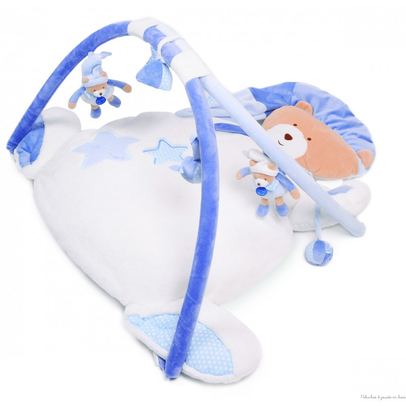 Un Tapis d'éveil et ses différentes activités à la forme de l'Ours Petit Chou de la marque Doudou et compagnie, doux et confortable, il est adapté aux tout petits dès la naissance.