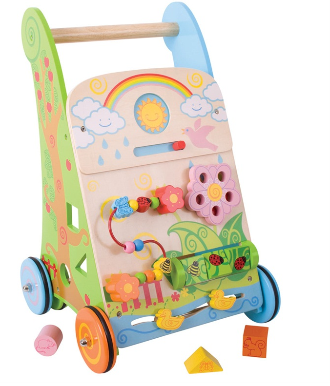 Un chariot de marche et centre d'activité fleur de la marque Bigjigs pour apprendre à bébé à faire ses premiers pas et découvrir 7 activités différentes pour jouer. A partir d'un an+ Cette reference remplace BB021