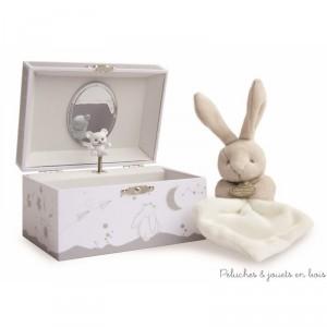 Un ensemble coffret boîte à musique douce nuit et un doudou lapin mouchoir de la marque Doudou et Compagnie. A partir de 0mois+