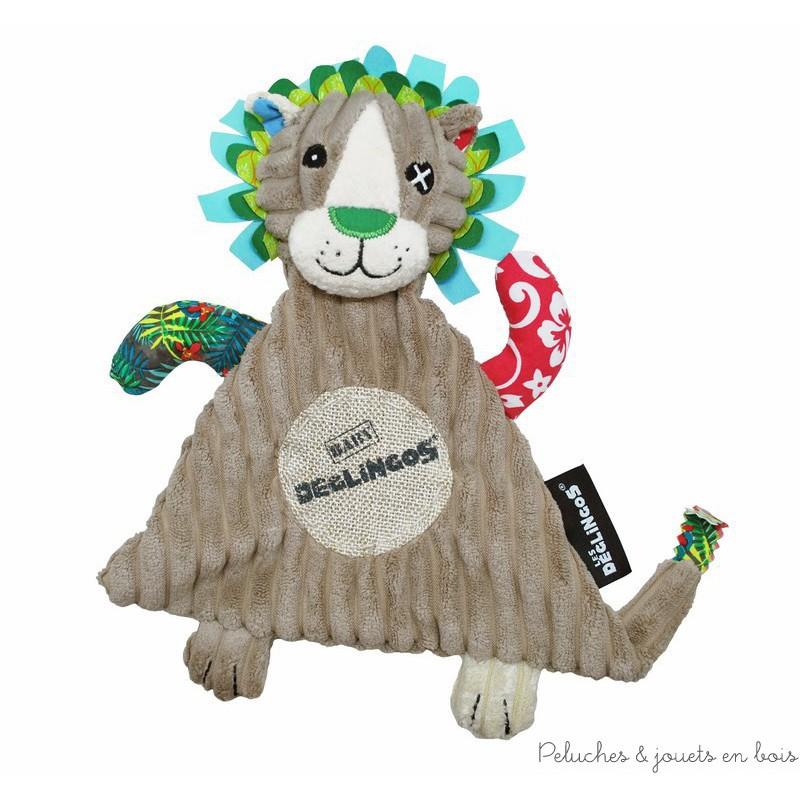 Un doudou JELEKROS le lion de la marque Déglingos, composé de velours côtelé, de toile de jute et d'un patchwork de motifs très branchos.  Si t'as pas ton Baby Déglingos, c'est carrément craignos! A partir de 0m+