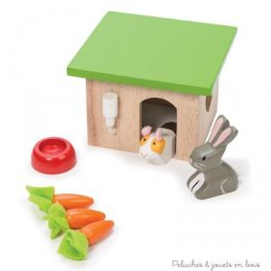 Dans la collection Daisylane de la marque Le Toy Van, Un set d'animaux de compagnie en bois avec  un clapier, un lapin, un cohon d'Inde et des accessoires.  A partir de 3 ans+