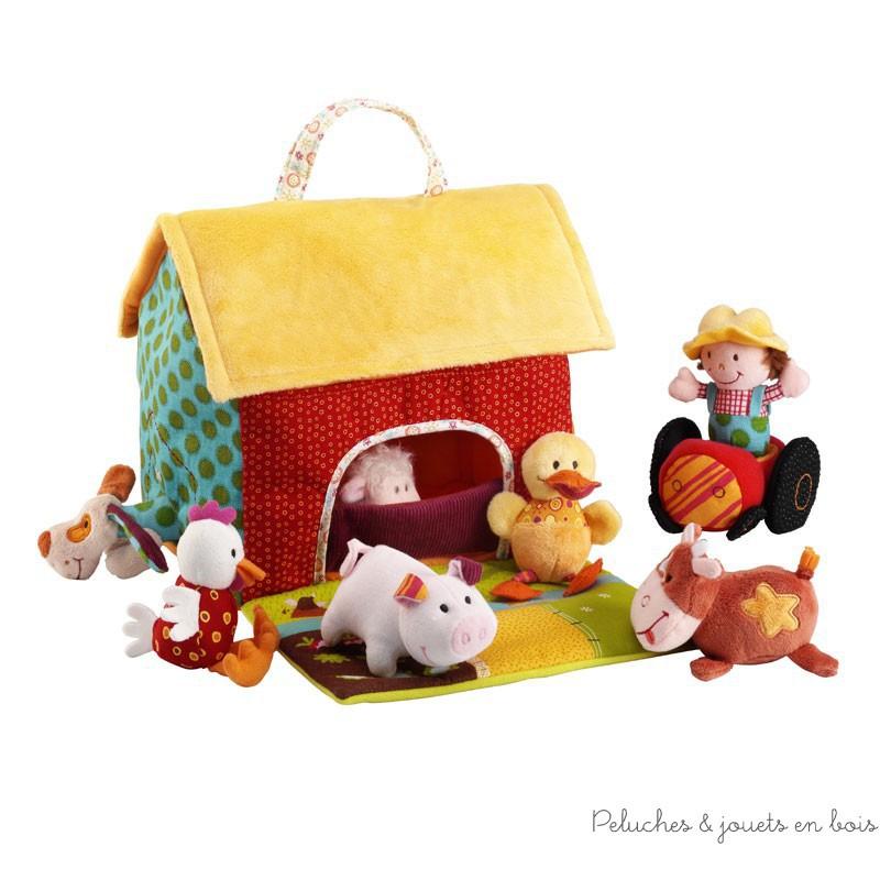 Cette jolie ferme est une petite maison en textile que tu pourras emmener partout avec ses charmants habitants. Un ensemble signé Lilliputiens. A partir de 6 mois+