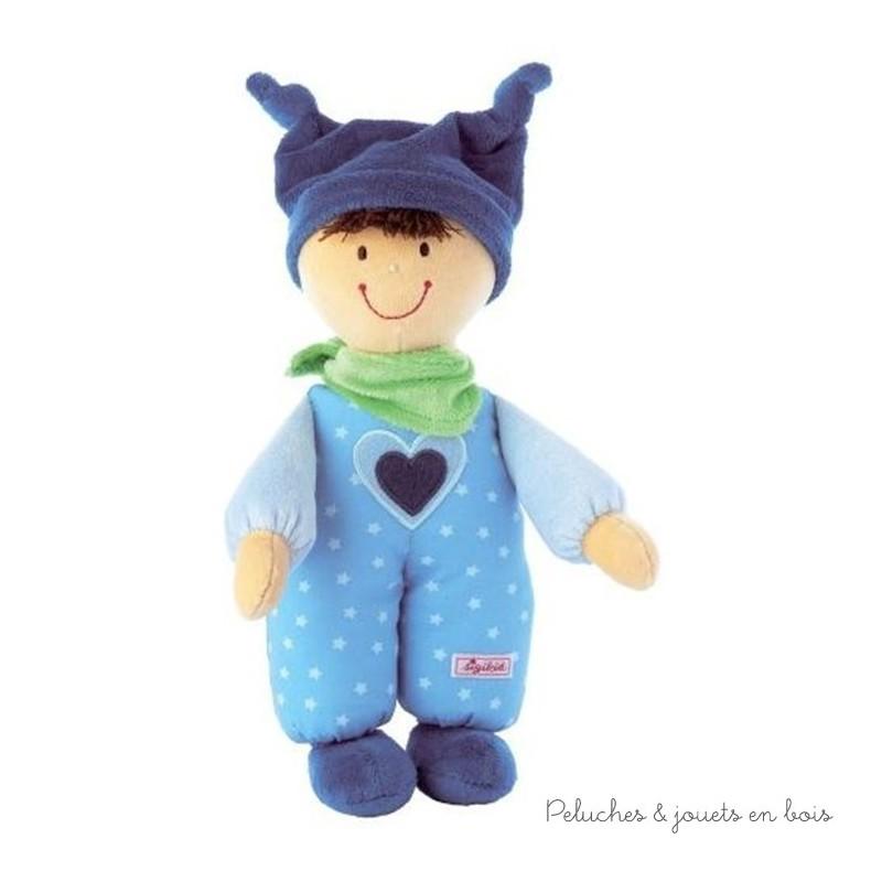 Une adorable petite poupée Babydolly Bleue en tissus de la marque Sigikid. A partir de 0 m+