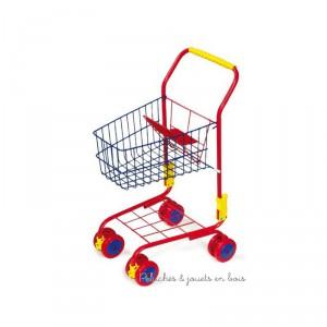 Un caddie en métal coloré sur roulettes pour faire ses courses comme maman à partir de 3 ans+