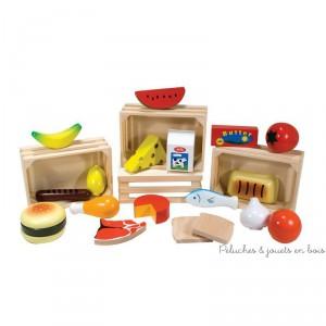 4 caissettes en bois des groupes alimentaires pour apprendre à composer des repas équilibrés tout en jouant. Lait et produits laitiers, fruits et legumes, pain et glucides, viandes poissons et proteines. Normes CE Dimensions du packaging : 32 x 22 x 6 cm
