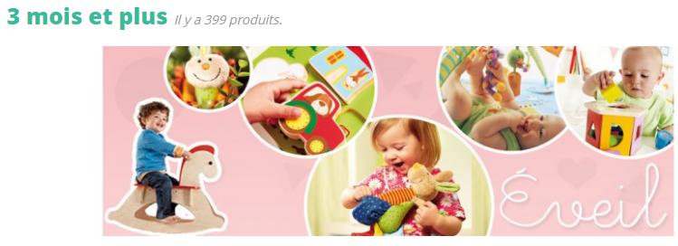 à partir de 3 mois, l'enfant commence à toucher, à saisir, à porter les objets à la bouche et à comprendre qu'il peut agir sur eux. C'est le bon âge pour les premiers jouets d'éveil en tissu que l'on secoue ou sur lesquels on appuie pour produire un bruit...