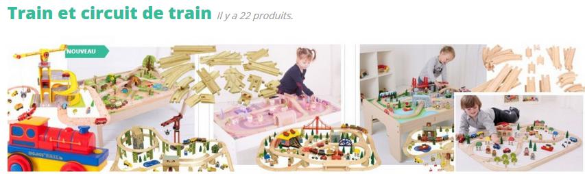 Les trains et circuits de train en bois sont particulièrement réputés dans le domaine du jouet et s'adressent aussi bien aux très jeunes enfants (à partir d'un an) qu'aux plus grands. La grande variété de la gamme des trains des marques Brio et Bigjigs, permet de commencer une collection avec par exemple un train et un circuit simple, puis de la compléter en y ajoutant des wagons, des déviations ou des éléments de décors. Le jeu grandit ainsi avec l'enfant. Du plus petit au plus grand circuit de chemin de fer de luxe...