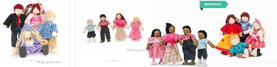 famille de poupées articulées en bois signées Le Toy Van