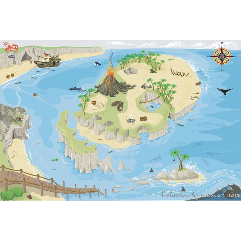 Un tapis de jeux Géant pirate de la marque Le Toy Van. Avec ce tapis fabuleux on découvre tout un univers parfait pour jouer au pirate, une île volcanique en forme de tête de mort ou se cache sûrement un trésor, des baies, des plages de sable, des cavernes, des falaise et la mer grouillante de vie marine...A partir de 3 ans+