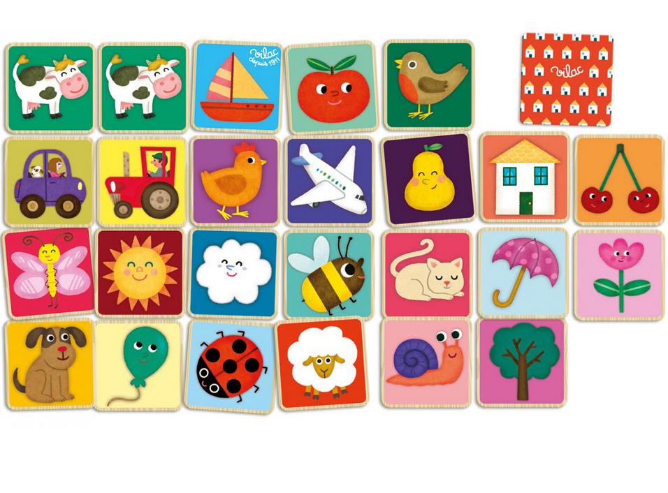 Mémo imagier de 48 pièces en bois dans un coffret bois. Dimensions de la boîte : 17 x 22 x 4,5 cm. Normes CE