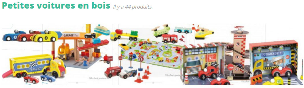 Vous trouverez ici de quoi faire plaisir à votre petit garçon en lui offrant des jouets incassables avec lesquels il s'amusera en toute sécurité. Les marques spécialistes de jouets en bois comme Vilac, Sevi, Brio, Bigjigs, Goki... proposent des milliers de petits véhicules en bois avec lesquels vos enfants de 1 an à 5 ans s'amuseront beaucoup en les faisant circuler sur des circuits également en bois. A vous de les découvrir tous !