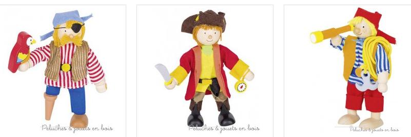 Dans la collection Premium de la marque Goki, une poupée articulée en bois avec accessoires Pirate au perroquet. Une poupée de qualité fabriquée à la main avec un design frais et tendance. A partir de 3 ans+
