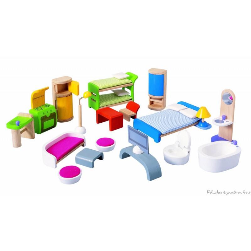 Elle est livrée avec 2 escaliers indépendants et un assortiement de plus de 20 meubles et accessoires. Dimensions : 78 x 36 x 60 cm. Maison en bois labélisé FSC, colle et peinture non toxique. Normes CE