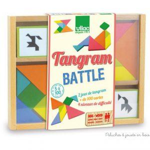 Un jeu de Tangram en bois de 4 niveaux pour des combats de plus en plus corsés de la marque Vilac. A partir de 5 ans+