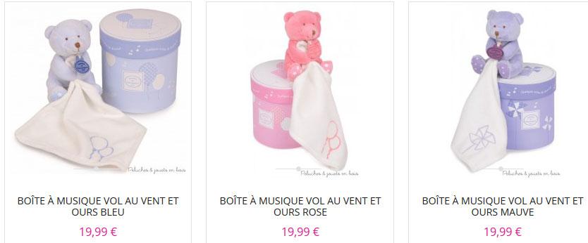 Une boîte musicale Vol au vent garnie d'un amusant doudou mouchoir ours bleu de la marque Doudou et Compagnie. A partir de 0m+