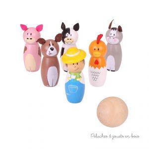 Un sympathique jeu de quilles de la ferme en bois peint de la marque Bigjigs Toys. A partir de 2 ans+