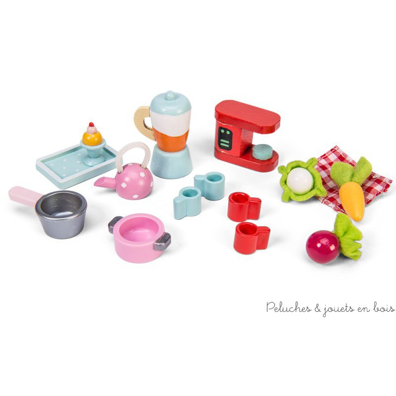 Dans la collection Daisylane de la marque Le Toy Van, un set d'accessoires de cuisine parfait pour l'heure du thé des poupées en bois. A partir de 3 ans+