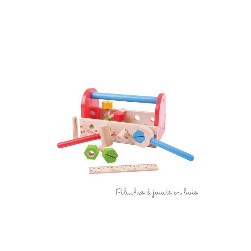 Une boîte à outils en bois peint de 18 pièces de la marque Bigjigs Toys. A partir de 3 ans+