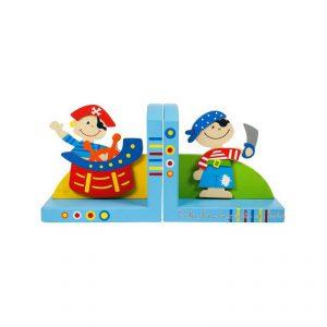 Deux serre livres en bois de la marque Bigjigs sur le thème des pirates. Taille 14 x 24 x 10 cm.