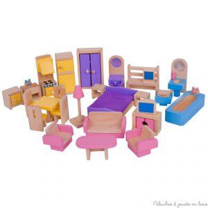 Ce set d'ameublement de la marque Bigjigs pour maison de poupées comprend 26 meubles en bois composant cuisine, salon, chambre à coucher et salle de bain. A partir de 3 ans+ A noter que le fabricant se réserve le droit de changer à tout moment les couleurs de certains meubles, photos non contractuelles. Ref JT116