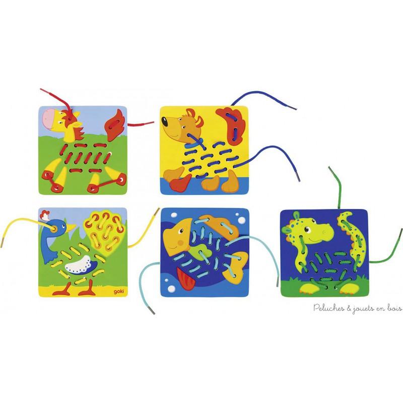 Un jeu de lacets de la marque goki qui contient 5 modèles assortis, cheval, chien, paon, poisson et dragon ainsi que 5 lacets, turquoise, jaune, vert, rouge, bleu. Ce jeux d'enfilage permet de remplir en tissant les corps des animaux, il favorise la motricité fine de l'enfant par le jeu. A partir de 3 ans+