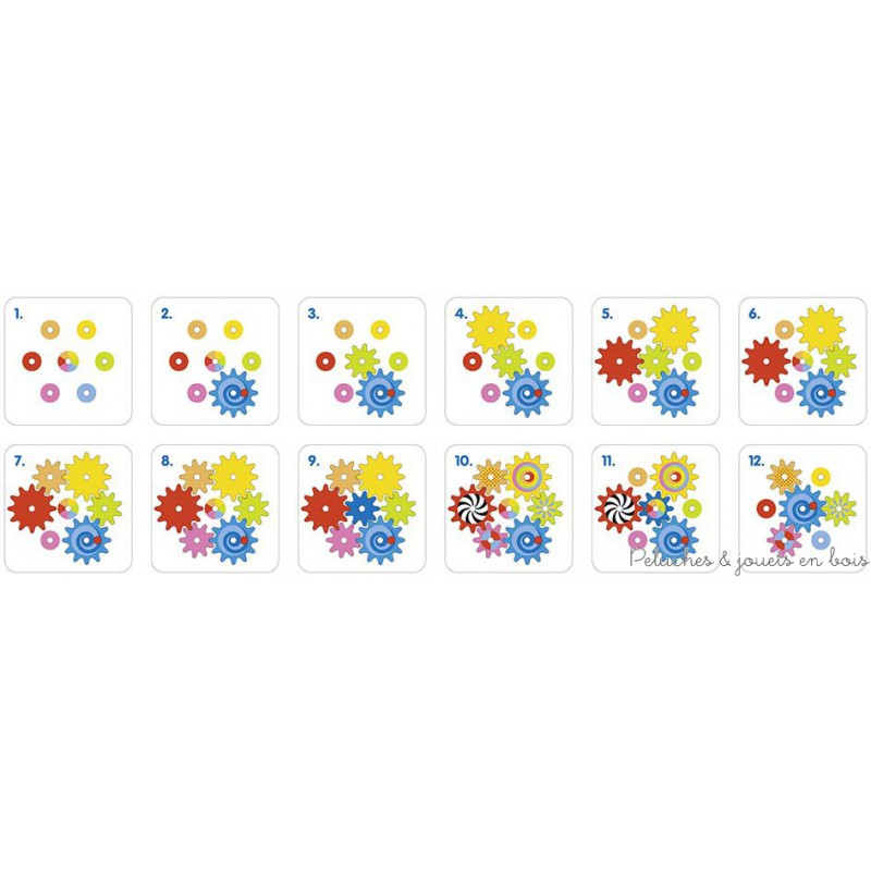 Un jeu des engrenages coloré, ludique et créatif de la marque Goki. A construire étape par étape comme un puzzle puis à faire fonctionner. A partir de 3 ans+