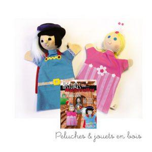 Un duo de Marionnettes La belle au bois dormant, signé Animascena - Le Coin des enfants,composé de 2 marionnettes à main en tissu avec une tete dure, un coffret et un livret. A partir de 4 ans+