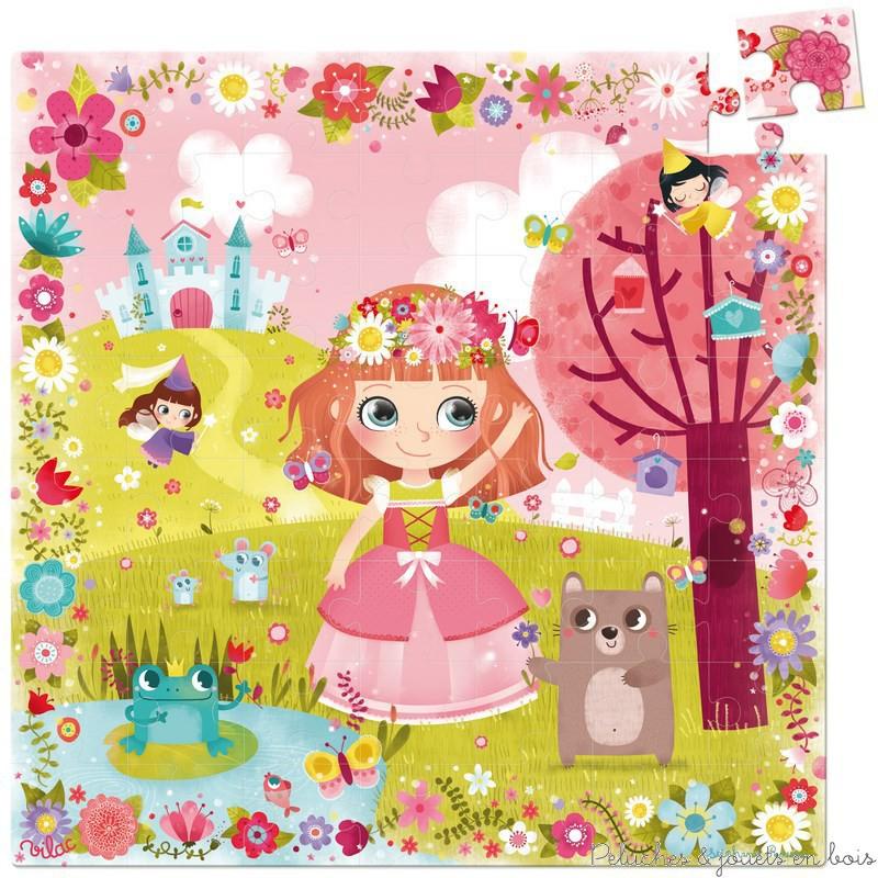 Un puzzle Princesse des fleurs 54 pièces en bois dans une boite princesse signé Vilac avec un enchanteur design de conte de fée. Contient une feuille modèle pour plus de facilités. A partir de 4 ans+