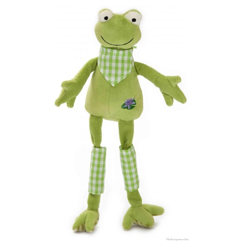 Bidouille la grenouille de la marque Les Petites Marie, avec de longues pattes et un bandana. Livrée en boîte cylindrique. A partir de 0m+