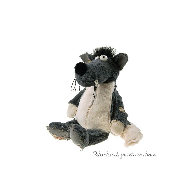 Zarbilou le loup de la marque Les Petites Marie livré dans un joli petit sac pour un cadeau apprécié. A partir de 0m+
