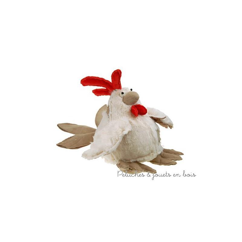 Une peluche poule toute douce, amusante et très originale pour faire craquer petits et grands. En peluche et velours lavable en machine à 30°. Taille 25 cm Normes CE