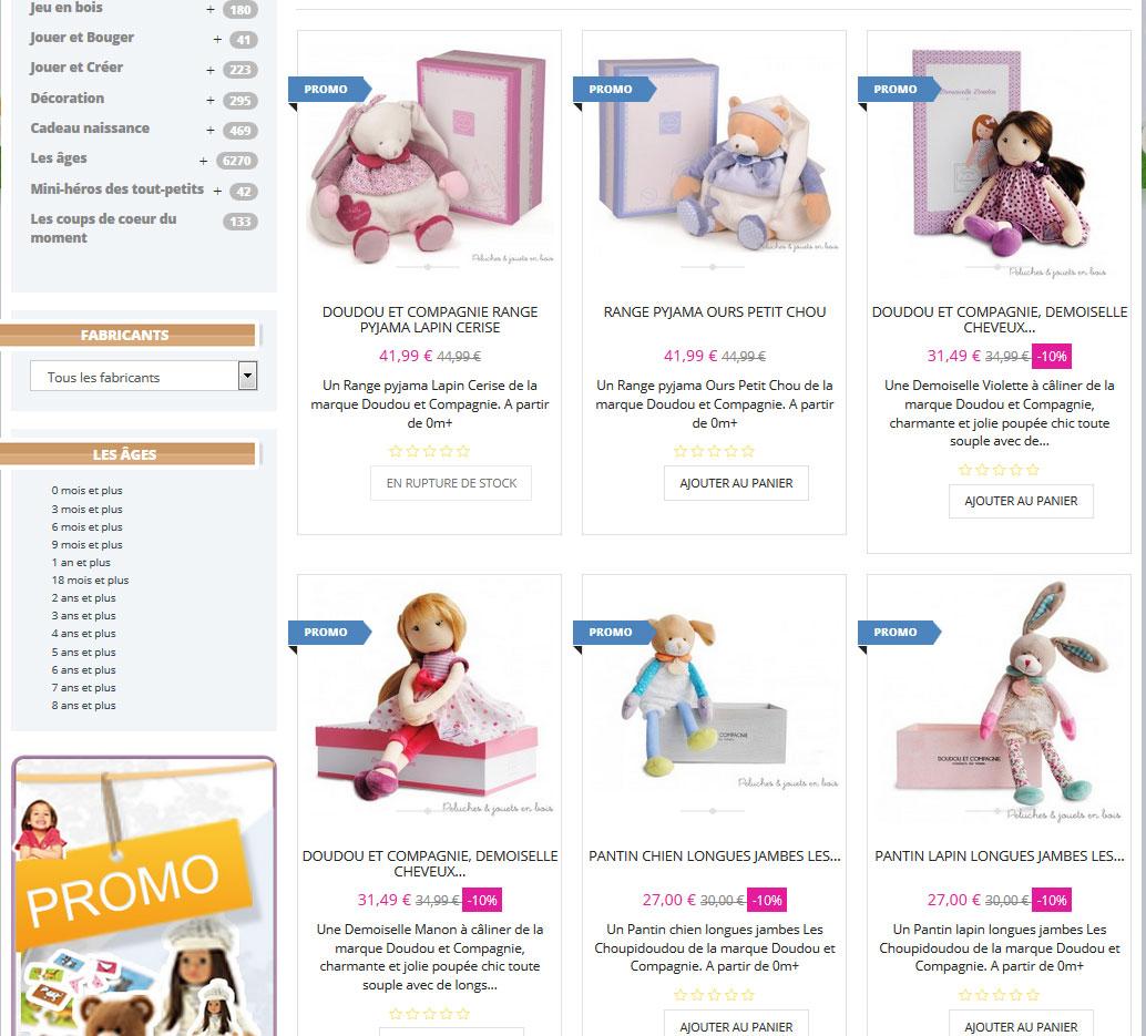 plein de doudous & poupées premier âge pour envoyer à vos proches des cadeaux de naissance au meilleur prix