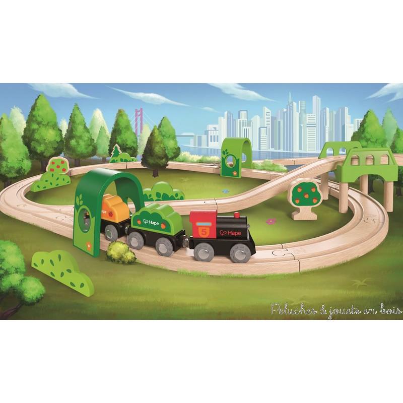 Dans la gamme Trains en Bois de la collection Hape, un circuit de train dans la forêt de 54 pièces de grande qualité, compatible avec les circuits de trains en bois des autres grandes marques. Un circuit double avec un train qui comprend des arbres, des tunnels et un pont. A partir de 3 ans+