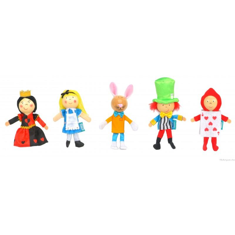 Un coffret de marionnettes de doigt Alice au pays des merveilles de la marque Fiesta Craft; à partir de 3 ans+