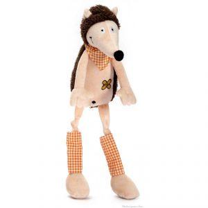 Polochon le hérisson de la marque Les Petites Marie. Tout doux avec son petit air coquin ses longues pattes et son bandana à carreaux vichy. Livré en sac en organza. A partir de 0m+