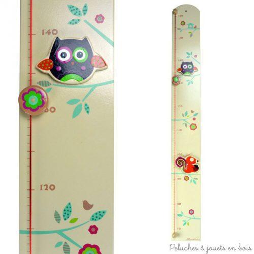 Cette Toise couleur thème forêt enchantée de la marque Le Coin des enfants permet de mesurer les enfants de 0.70 à 1.60 m. C'est aussi une idée de cadeau de naissance pour décorer la chambre de bébé.