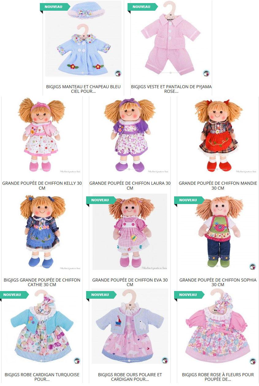 vêtements pour compléter le dressing des poupées de chiffon de 30 cm vendues séparément
