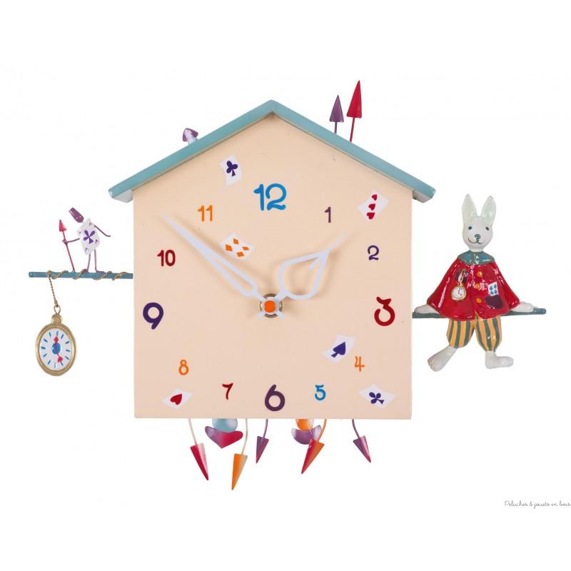 Une horloge murale décorative remplie d'histoires, Alabonneheure Le Lapin une création signée l'oiseau Bateau. Pour la décoration de chambre d'enfant tous âges.