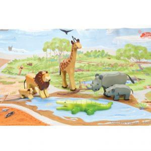 Un assortiment de six animaux de la Savane en bois peint aux finitions soignées, de la marque Le Toy Van. A partir de 3 ans+