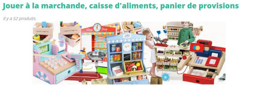 Un jeu de marchande ou d'épicier en bois est un cadeau idéal pour apprendre aux plus jeunes à compter, à reconnaître et aimer les fruits et légumes, mais surtout pour développer leur sociabilité et leur imagination. A l'occasion d'un anniversaire ou pour Noël, c'est un jouet riche en couleurs et en accessoires (à compléter au fur et à mesure) et qui garantira de longues heures de jeux aux plus imaginatifs ! Vous trouverez ici tous les jouets de marché en bois, dinette en bois, aliments à découper pour jouer à la marchande...