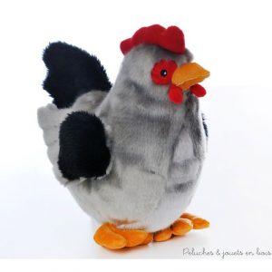 Une charmante poule grisette en peluche de la marque Les Petites Marie dans une joli sac en organza pour faire un cadeau apprécié. A partir de 0m+