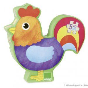 5 puzzles en bois dont: un coq de 3 pièces, un lapin de 4 pcs, un cochon de 5 pcs, un mouton de 6 pcs et une vache de 8 pièces dans une jolie boite en forme de Coq. Dimensions du packaging 29 x 25 x 5 cm. Normes CE