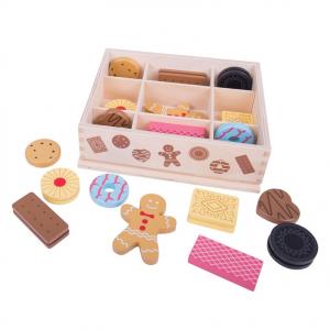 Boite de 18 biscuits en bois de la marque Bigjigs, pour jouer à la marchande, au petit patissier ou à la dinette. A partir de 3 ans+