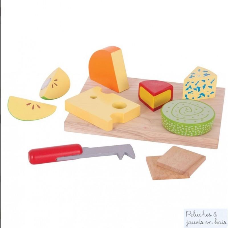 Un appétissant plateau de fromages en bois coloré de la marque Bigjigs toys qui encourage le jeu de rôle créatif et imaginatif. A partir de 3 ans+