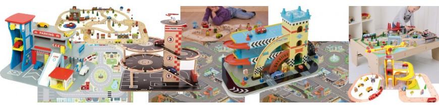 garage en bois jouet parking de petites voitures grue tapis de jeu 3 ans le toy van vilac sevi. Black Bedroom Furniture Sets. Home Design Ideas