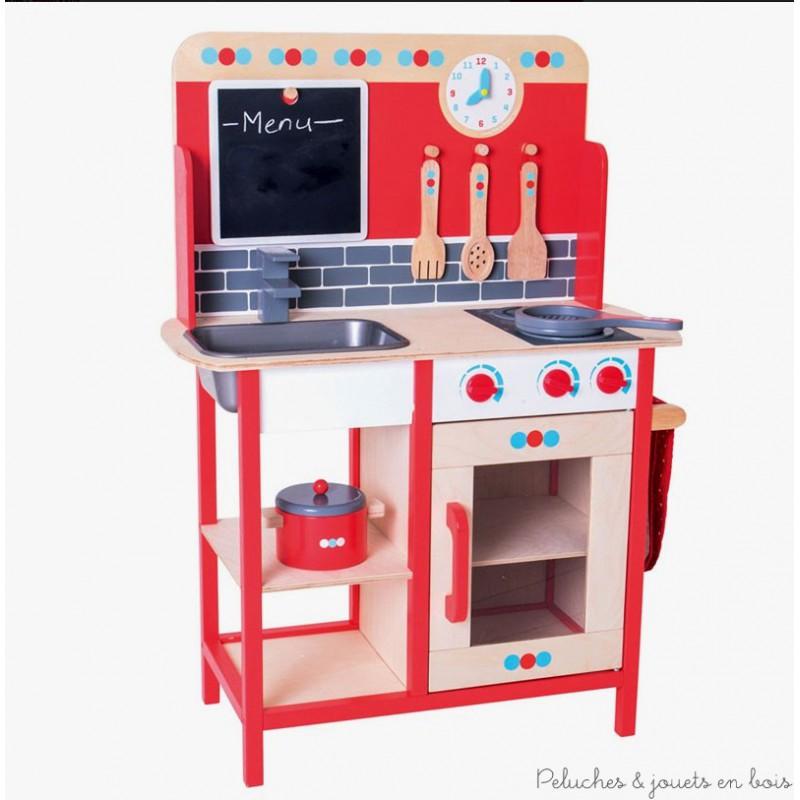 Cuisine en bois jouet tr s color e vier four plaques bigjigs 3 ans for Cuisine bois jouet