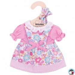 Bigjigs Robe rose à fleurs pour Poupée de chiffon 25 cm