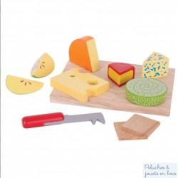 Bigjigs plateau de fromages 11 pcs jouet d'imitation en bois