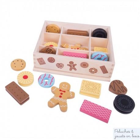 Bigjigs Boite de 18  biscuits en bois
